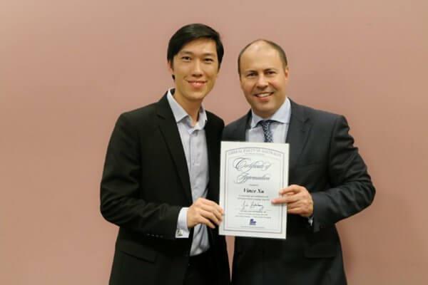 澳洲财政部长Hon Josh Frydenberg MP 为RJ+合伙人授证